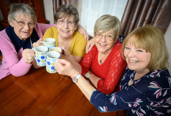 Glenda, Jenny, Rosemary and Jackie enjoy a chat over a cup of tea