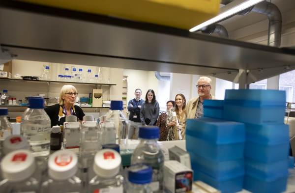 Oddfellows members take a tour of the Lupus Trust lab